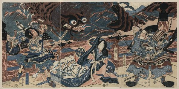 勝川春亭: The warrior Fujiwara Hidesato battling the giant centipede. - アメリカ議会図書館