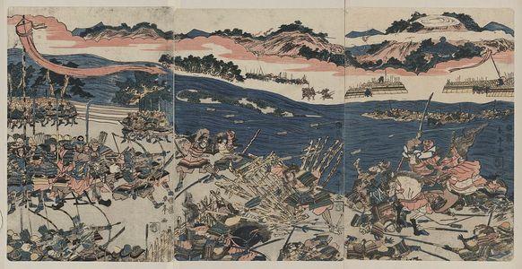 勝川春亭: Battle at Kawanakajima. - アメリカ議会図書館