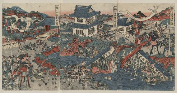 勝川春亭: The warrior Kusunoki barricading himself into Akasaka Castle. - アメリカ議会図書館