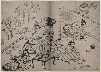Torii Kiyonobu I: Courtesan painting a screen. - Library of Congress