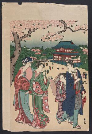 勝川春山: Cherry blossom viewing at Ueno. - アメリカ議会図書館