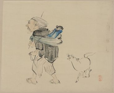 柴田是眞: Monkey trainer and a dog. - アメリカ議会図書館