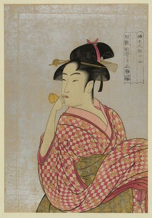 喜多川歌麿: Young lady blowing on a poppin. - アメリカ議会図書館
