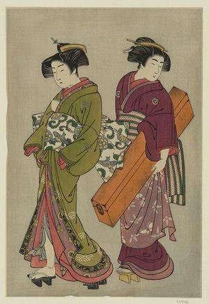 北尾重政: Geisha and a servant carrying her koto. - アメリカ議会図書館