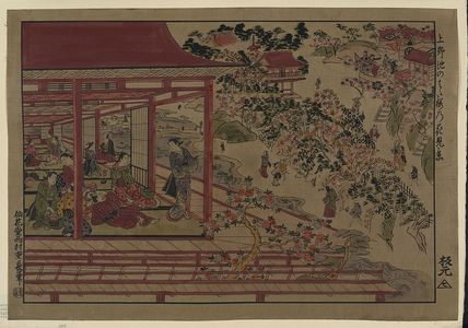 Nishimura Shigenaga: Viewing cherry blossoms from the bank of a pond at Ueno. - Library of Congress