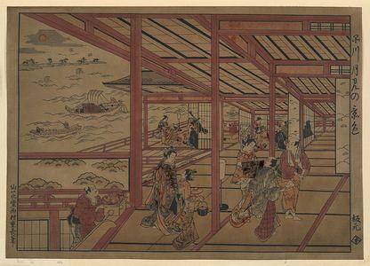 Nishimura Shigenaga: [Moon viewing at Shinagawa] - Library of Congress