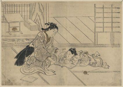 西川祐信: A mother and son [her son doesn't want her to read]. - アメリカ議会図書館