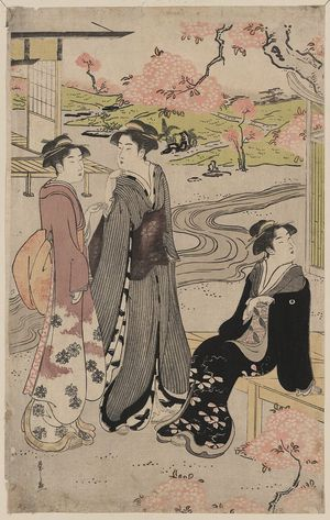 Hosoda Eishi: Viewing cherry blossoms in the garden. - Library of Congress