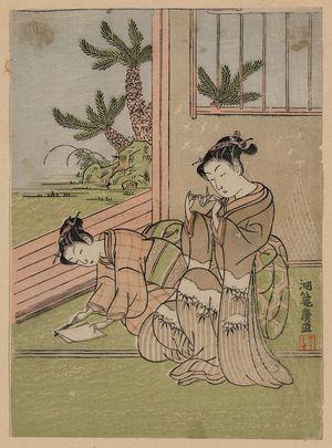 磯田湖龍齋: Children folding a paper crane. - アメリカ議会図書館
