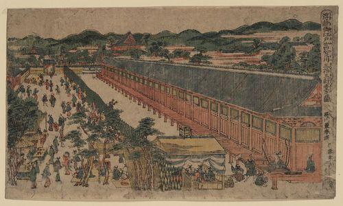歌川豊春: Perspective picture of hall of thirty-three bays, Fukagawa in Edo. - アメリカ議会図書館