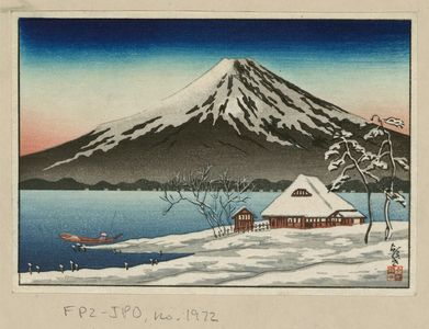 Unknown: [Winter landscape with small snow-covered building on the coast and view of Mount Fuji] - Library of Congress