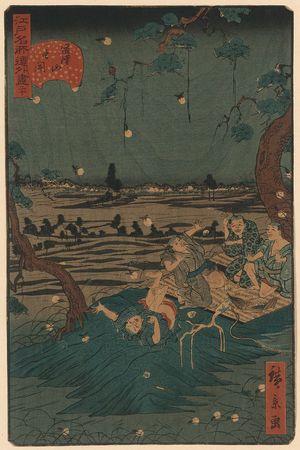 歌川広景: Catching fireflies at Mount Dōkan. - アメリカ議会図書館