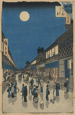 Utagawa Hiroshige: Night view of Saruwaka-machi. - Library of Congress