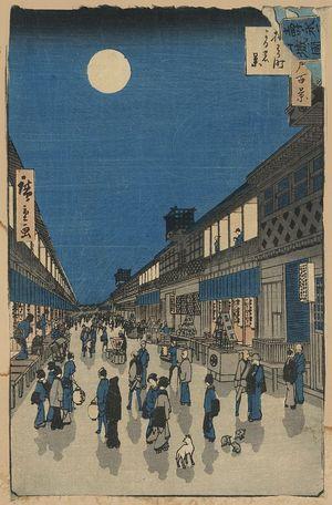 歌川広重: Night view of Saruwaka-machi. - アメリカ議会図書館