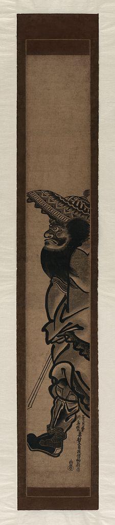 Okumura Masanobu: Shōki striding. - Library of Congress