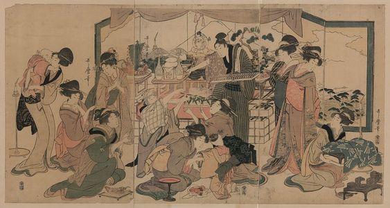 Kitagawa Utamaro: Festival of the god of good fortune, Ebisu. - Library of Congress