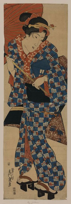 Keisai Eisen: Going to nagauta lessons. - Library of Congress