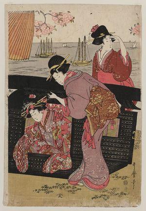 喜多川歌麿: Cherry-viewing at Gotenyama. - アメリカ議会図書館