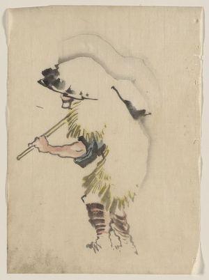 葛飾北斎: [A man walking to the left, wearing a large conical hat and a straw or feather garment, carrying a long handled tool over his right shoulder] - アメリカ議会図書館
