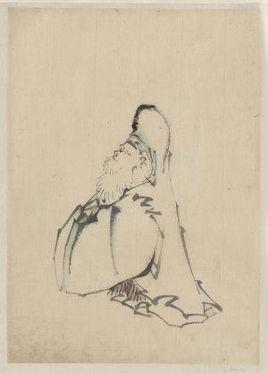 Katsushika Hokusai: [Fukurokuju, the god of wisdom, wealth, long life, and happiness, one of the seven lucky gods, standing, facing left] - Library of Congress