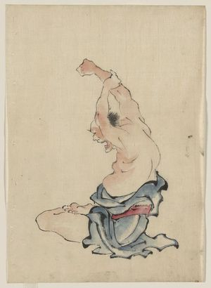 Katsushika Hokusai: [A man, bare-chested, sitting cross-legged with arms raised over his head, stretching or practicing yoga(?)] - Library of Congress