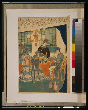 歌川貞秀: Parlour of a foreign mercantile house in Yokohama. - アメリカ議会図書館