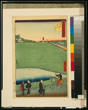 歌川広重: Famous places in Tokyo: Ushigabuchi, Kudanzaka. - アメリカ議会図書館