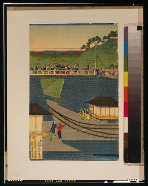 Utagawa Yoshitora: Steam train at Takanawa seashore, Tokyo. - Library of Congress