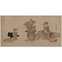 Utagawa Kuninao: Three beauties admiring an arrangement of rikka flowers. - アメリカ議会図書館