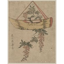 Kitagawa Tsukimaro: Wisteria in a boat-shaped flower container. - Library of Congress