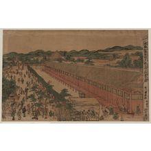 歌川豊春: View of Sanjūsangendō in Kyōto. - アメリカ議会図書館