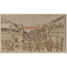 Utagawa Toyoharu: Perspective picture of a night show of the opening-of-the-season performance at Fukiyachō and Sakaichō. - Library of Congress