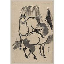 Katsukawa Shunsen: Horses under a willow tree. - Library of Congress
