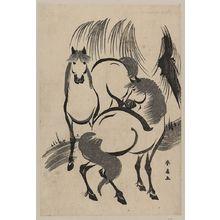 勝川春扇: Horses under a willow tree. - アメリカ議会図書館