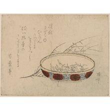 柳々居辰斎: Plum and wild water lily. - アメリカ議会図書館