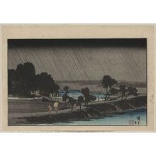 Utagawa Hiroshige: Evening rain at Azuma Shrine. - Library of Congress
