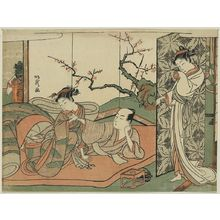 北尾重政: Courtesan watching a young apprentice in bed. - アメリカ議会図書館