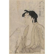 Kitagawa Utamaro: Woman smoking a pipe. - Library of Congress