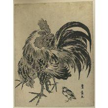 歌川豊広: Hen and chick. - アメリカ議会図書館