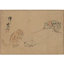 Kawanabe Gyōsai: The Kyōgen performance Tsurigitsune. - Library of Congress