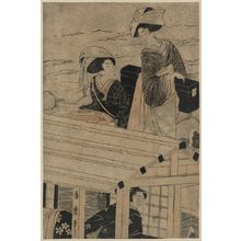 Kitagawa Hidemaro: Enjoying a river cruise in winter. - Library of Congress