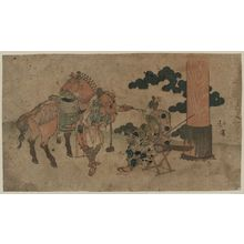 Totoya Hokkei: Two people having a smoke at a shrine festival. - Library of Congress