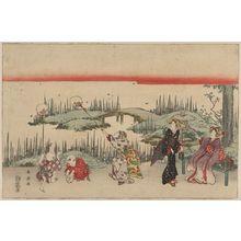 勝川春扇: Catching fireflies. - アメリカ議会図書館