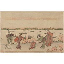 勝川春扇: Cherry blossom viewing in Mimeguri. - アメリカ議会図書館