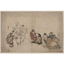 窪俊満: Women and children watching a Manzai performance. - アメリカ議会図書館