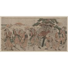 勝川春扇: The seven gods of good luck dressed in festival clothes. - アメリカ議会図書館