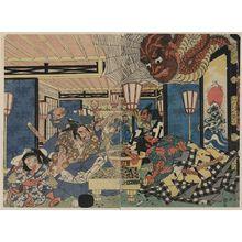 歌川國長: Raikō Shitennō [Minamoto Yorimitsu] and the earth spider. - アメリカ議会図書館