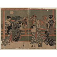 歌川豊国: Women watching a sumō match under a full moon. - アメリカ議会図書館