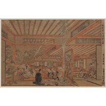 歌川豊春: Perspective picture of a drinking party viewing the snow. - アメリカ議会図書館