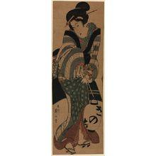 菊川英山: Woman carrying a lantern. - アメリカ議会図書館